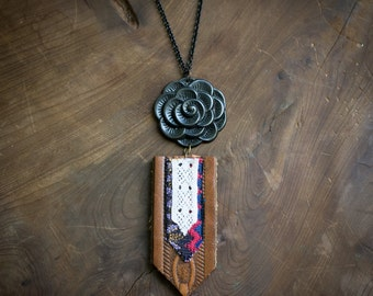 Lace + Leather Mixed Media Pendant