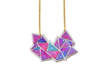 Galaxy Necklace, Space Necklace, Geometric Necklace, Pink Ombre Necklace, Triangle Leather Necklace, Cosmic Necklace, Painted Necklace