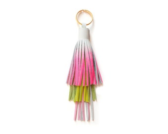 Long Leather Tassel Key Chain, Gold Key Ring, Green and Pink Ombre Tassel Fringe, Neon Pink Key Chain, Purse Bag Charm, Leather Key Fob