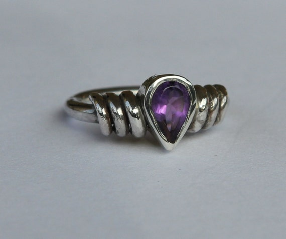 Hand Forged 1.15ct Natural Amethyst In Argentium Sterling Silver Ring SZ 6