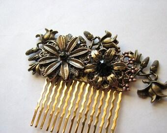 Flower hair comb | gold headpiece | bridal | floral