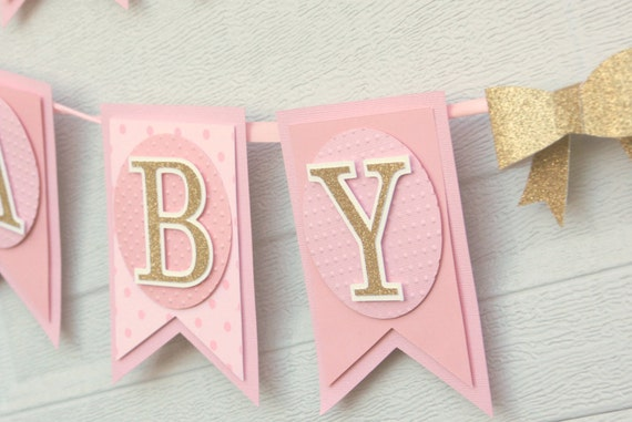 pink and gold baby shower decoration baby girl banner sweet baby