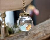 Gemstone Vial Necklace - Rough Stone Jewelry - Vial Jewelry - Natural Gemstone Necklace - Aquamarine/Citrine - Gypsy Jewelry - Boho Necklace