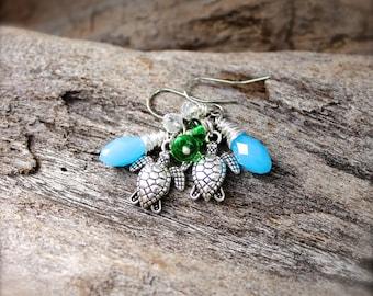 Sea Turtle Earrings - Hawaiian jewelry by Mermaid Tears - Sea Turtle Jewelry from Hawaii - Hawaiian Honu Earrings - Honu Jewelry