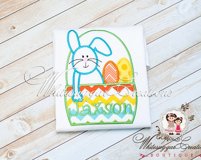 Boys Easter Bunny Shirt - Bunny in Basket Shirt, Easter Personalized Outfit, Baby Boy Bunny Shirt, Bunny Shirt, Baby Boy Easter Outfit