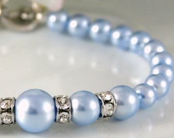 Blue Pearl Bridal Bracelet Pearl Bracelet Something Blue bridesmaid bracelet bridesmaid gift blue wedding bracelet blue bridal jewelry