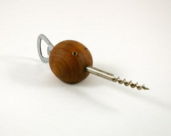 Mid Century Wooden Swordfish Bottle Opener and Corkscrew