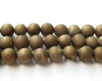 """Druzy Round Beads - Gold Titanium Druzy Beads - Gold Sensation Pixie Dust - Agate Matte Coating Round Ball Stone - 8mm - 8"""" Jewelry Project"""