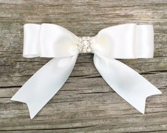 Ivory Satin Hair Bow with Rhinestone Center, Toddler Hair Bow, Hair Clips for Girls, Ivory Hair Bow, Boutique Hair Bows, Flower Girl Bow