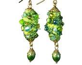 Artsy Fiber Art, Lime Green Earrings, Artsy, Bead Dangle, Wearable  Art, Handcrafted Jewelry