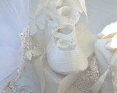 Silk Bridal Boot Wedding Shoes With Large Bow by Bobka Baby