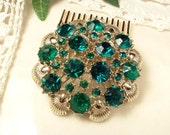 Hair Comb OR Sash Brooch Emerald Green Rhinestone Silver Gold, Round Crystal Vintage Coro Signed Bridal Pin or OOAK Hair Accessory, Modern