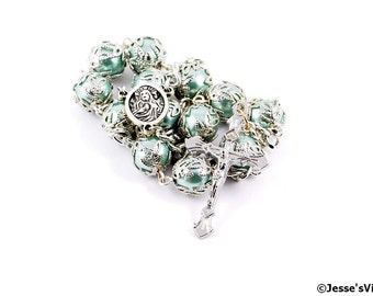 Auto Rosary Pocket Light Green Pearl Glass Bead 1 Decade Silver