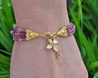 40% DISCOUNT - Purple Seed Beaded and Crystal Flower Charm Bracelet