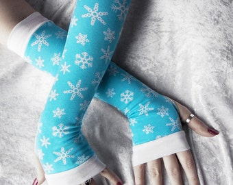 Frozen Memory Arm Warmers - Sky Blue Auqa Ice White Snowflakes Cotton - Winter Yoga Christmas Gloves Holiday Snow Queen Gift Idea Cycling