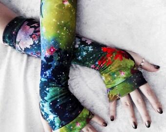 Galactic Garden Arm Warmers | Green Yellow Red Indigo Blue Teal Ochre Floral Galaxy Cotton | Yoga Gothic Boho Cycling Light Fae Stars Goth