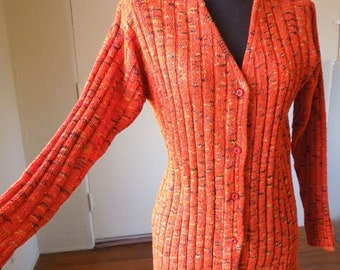 Orange cardigan | Etsy