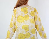 SALE - Vintage 90s Yellow Daisies Print Beach Sheer Summer Top.  Beach Coverup