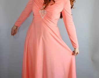 SALE - Vintage 1970s Bright Peach Spring Maxi Gown Prom Dress