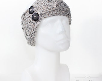Gray Knit Headband, Winter Headband, Buttoned Earwarmer, Modern Thick Headwrap