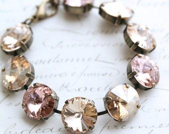Blush Bracelet, Pink Bracelet, Swarovski Bracelet, Multicolored Bracelet, Rivoli Crystal Bracelet, Champagne Bracelet