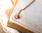 Filigree Flower Necklace,  Rose Flower, Strawberry Pink Cabochon, Little Girls Necklace, Princess Choker Necklace