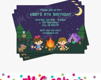Camping Birthday Party Invitation - Girl Camping Printable Invitation- Camping Birthday Party Printables - Camping Invite - Glamping Invite