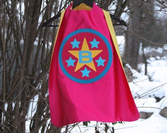 New - Girls PERSONALIZED SUPERHERO Cape - Customized with your child's INITIAL - Customized Gifts for Kids - Personalized Presents