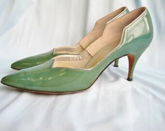 1950s Teal and Silver Patent Tweedies Heels Size 7 1/2 N