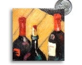 Wine bottles original mini oil painting on canvas