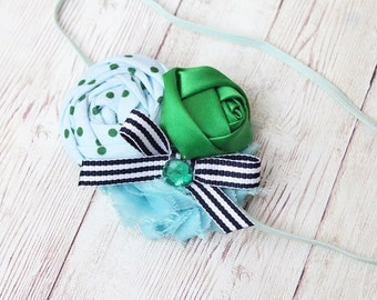 Ahoy- light blue kelly green and navy nautical inspired rosette headband with bow