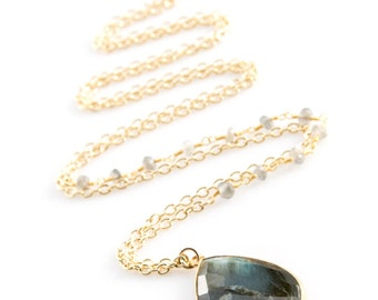 Labradorite Necklace- Gold Edged Stone with Wire Wrapped Labradorite Stone Chain - NG06