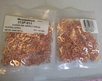 Bulk Beadalon S Hook Copper Clasps, Beadalon Clasps, Bulk Clasps, Copper, S Hook, Beadalon, Necklace, Bracelet, Clasp, Copper Hook, 144