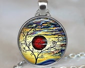 Sunset Swirls art pendant, tree jewelry, abstract art pendant, tree necklace, sunset necklace sunset keychain key chain