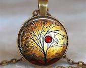 Total Eclipse art pendant, Eclipse necklace, Eclipse pendant, nature pendant, tree jewelry keychain key chain key fob