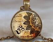 Bronze Om necklace, Om pendant, yoga pendant, yoga jewelry meditation jewelry, Yoga necklace, Om keychain key chain key fob