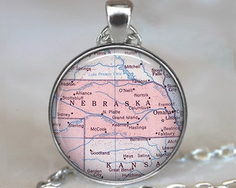 Nebraska map pendant Nebraska map necklace Nebraska pendant Nebraska necklace, map jewelry Nebraska keychain