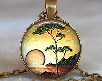 Serengeti Sunset pendant charm, sun pendant resin jewelry, sunset pendant, Serengeti pendant
