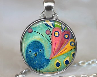 Fancy Tail Peacock pendant, peacock necklace peacock jewelry whimsical peacock necklace peacock keychain key chain