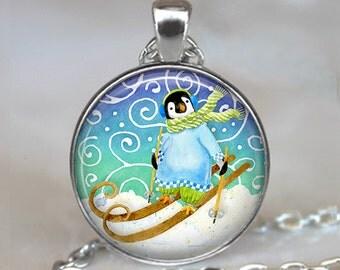 Penguin ski pendant, Penguin necklace, Penguin jewelry, snow ski pendant, skier's gift, Penquin keychain key chain