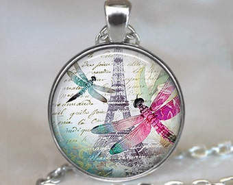 Dragonflies in Paris necklace, dragonfly jewelry, Paris pendant, dragonfly pendant, Dragonfly couple pendant keychain key chain key fob