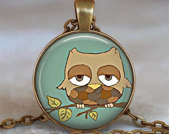 Sleepy Owl pendant, Sleepy Owl necklace, owl jewelry, owl lover gift, retro owl pendant cute owl necklace owl keychain key chain key fob