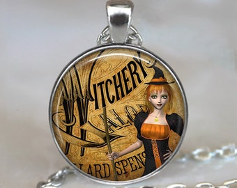 Cat-eyed Witch pendant cute witch necklace witch pendant witch jewelry Halloween jewelry samhain jewelry witch keychain witch key fob