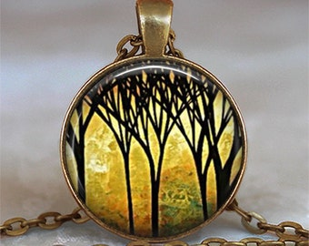Golden Grove necklace, nature lover necklace, forest pendant, tree necklace, forest necklace landscape art necklace tree keychain