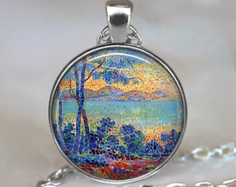 Sunrise in Provence art pendant, French Neo- Impressionism pendant, art necklace, painter's gift French art necklace keychain key chain