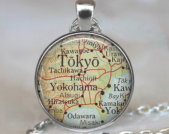 Tokyo map pendant, Tokyo map necklace, map jewelry, Tokyo necklace charm, map jewellery, Tokyo pendant keychain key chain