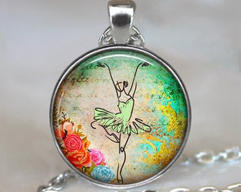 Ballet Collage necklace , ballerina necklace, ballerina pendant, ballet necklace, ballet pendant, ballerina key chain key fob