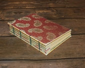 Christmas journal, handmade diary, hostess gift, Winter wedding guestbook, Paisley Notebook, cranberry, burgundy,