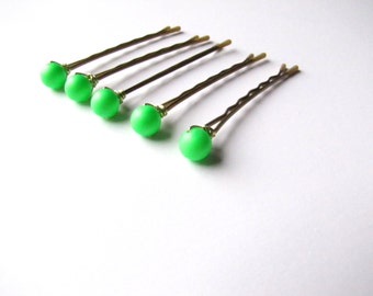 Neon Green Hair Pins