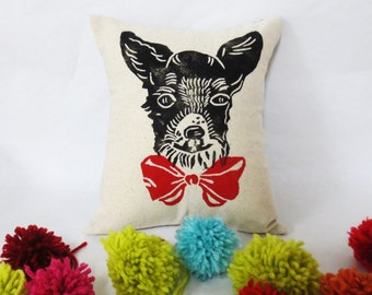 Chihuahua Block Printed Pillow - Your Choice of Bow Tie Color - Includes Pillow Insert